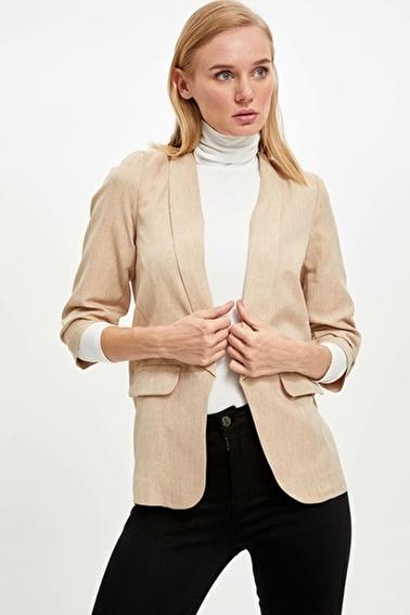 DeFacto Slim Fit Blazer Ceket Bej